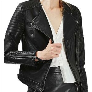 Topshop Nelly faux leather moto jacket